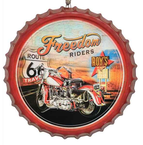 Blechschild Kronkorken Route 66 Freedom Riders Schild 50cm Wandschild Antik-Stil
