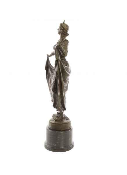 Bronzeskulptur Frau Tänzerin Bronze Figur Statue Bronzefigur im Antik-Stil 62cm