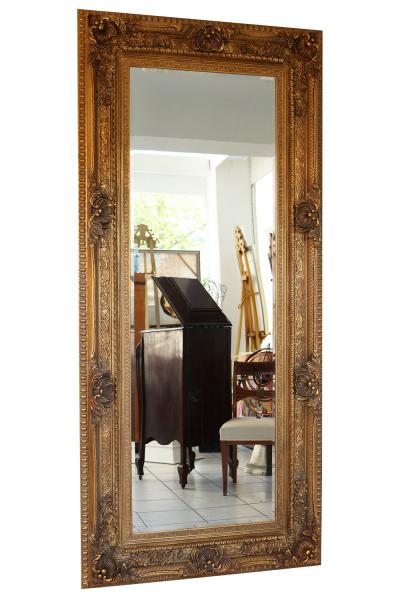 Spiegel Wandspiegel Antik-Stil Facettenschliff 219x98cm Farbe gold Holzrahmen