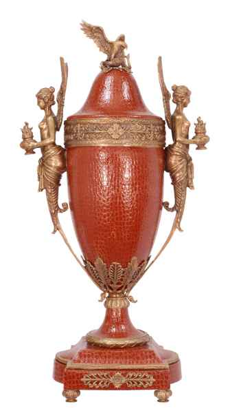 Florero oviforme corona escultura porcelana ángel latón estilo antiguo - 81cm