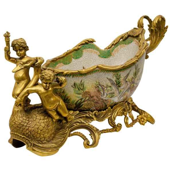Schale Pflanzschale Prunkschale Schwan Porzellan Messing Antik-Stil 47cm