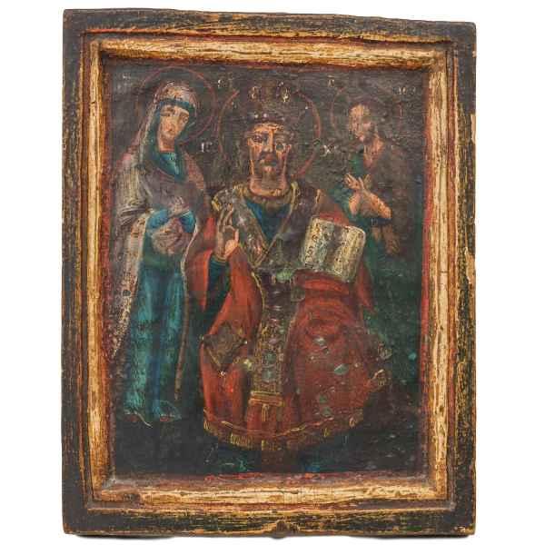 Ikone Russland Antik auf Holz gemalt Heilige Jesus Maria Gott icon russia