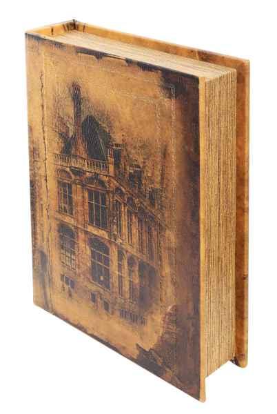 Schatulle Stadt 25cm Buchattrappe Box Schmucketui Buchtresor Buchsafe