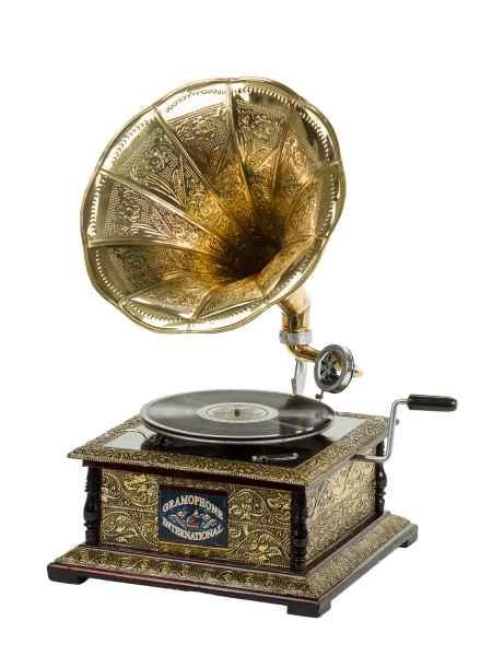 C Nostalgia gramófono con embudo Gramophone schellackplatte en Antik-estilo
