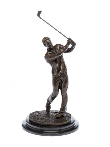 Bronzeskulptur Golf Golfspieler Bronze Golfer beim Abschlag Pokal sculpture