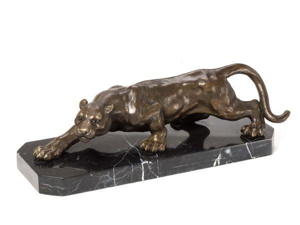 Bronze Skulptur Panther Leopard Bronzefigur Bronzeskulptur Antik-Stil sculpture
