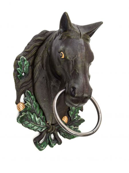 Wandgarderobe Pferd Handtuchhalter Eisen brown horse head towel holder Antikstil