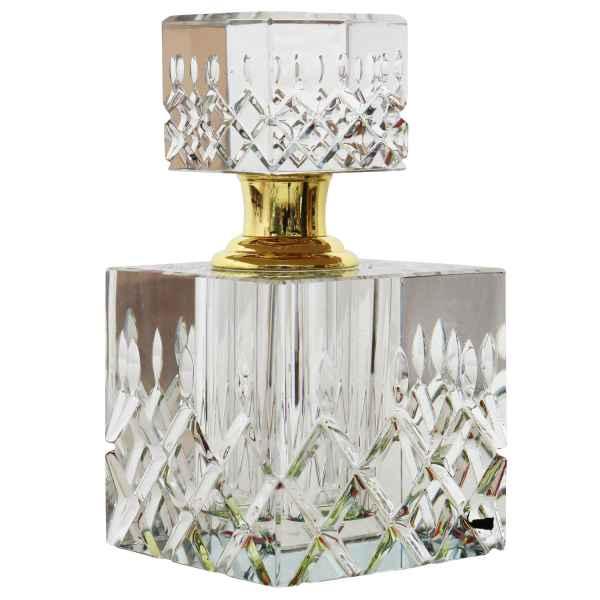 Geschliffener Glas Flakon im antik Stil Parfum Kristallglas Flacon 11cm (a)