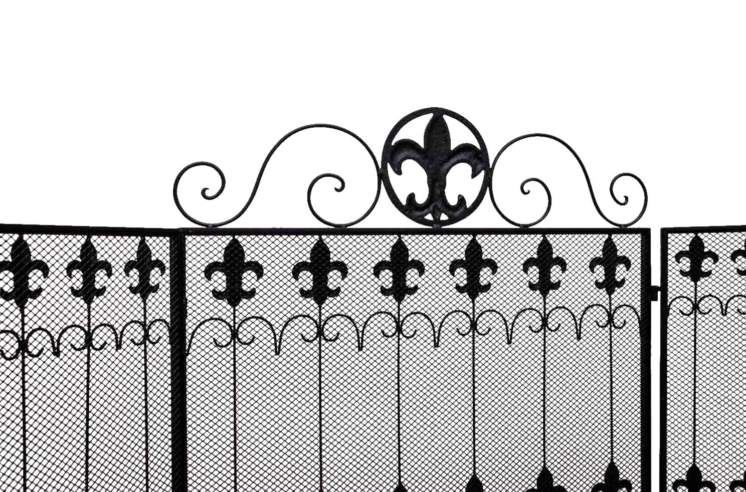 pare-feu de cheminée style antique grille de cheminée motif fleur de
