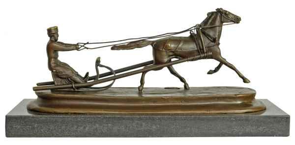 Bronzeskulptur nach Grachev Pferd Schlitten Antik-Stil Bronze Figur 25cm Replika