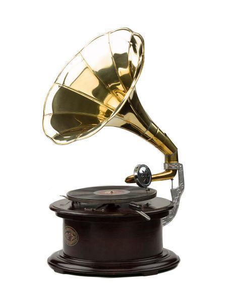 Grammophon 70cm Schellackplatte Holz Trichter Trichtergrammophon antique style