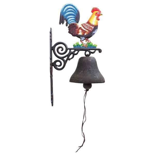 Wandglocke Türglocke Glocke Gusseisen Hahn Dekoration Eisen Antik-Stil 68cm