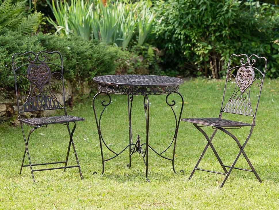 Gartentisch 2x Stuhl Eisen antique Style Gartenmöbel garden furniture braun