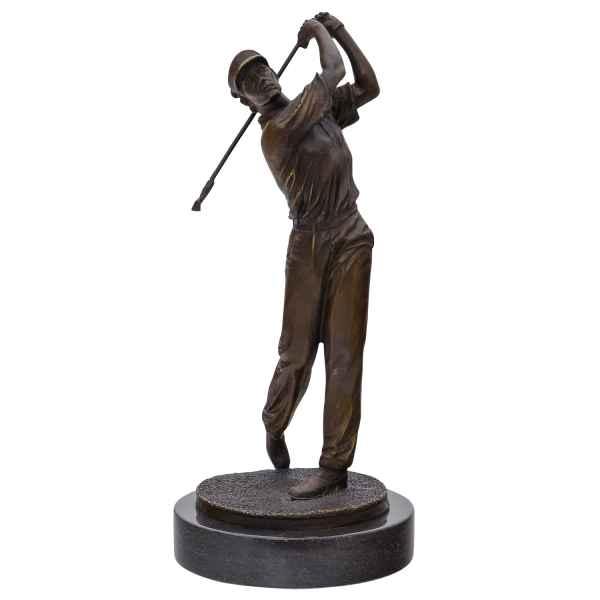 Bronzeskulptur Golfer Stein Moderne Skulptur Figur Statue Antik-Stil 33cm b