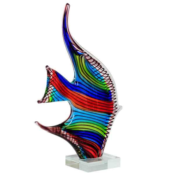 Glasfigur Figur Skulptur Fisch Tier Glas im Murano Antik-Stil 32cm