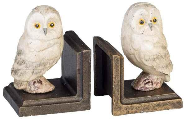 2 Buchstützen Buchständer Eule Statue Figur Skulptur Eisen 12cm Antik-Stil