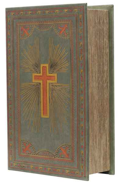 Buchtresor Buchsafe Buchattrappe Geheimsafe Box mit Schlüssel Kreuz Kirche