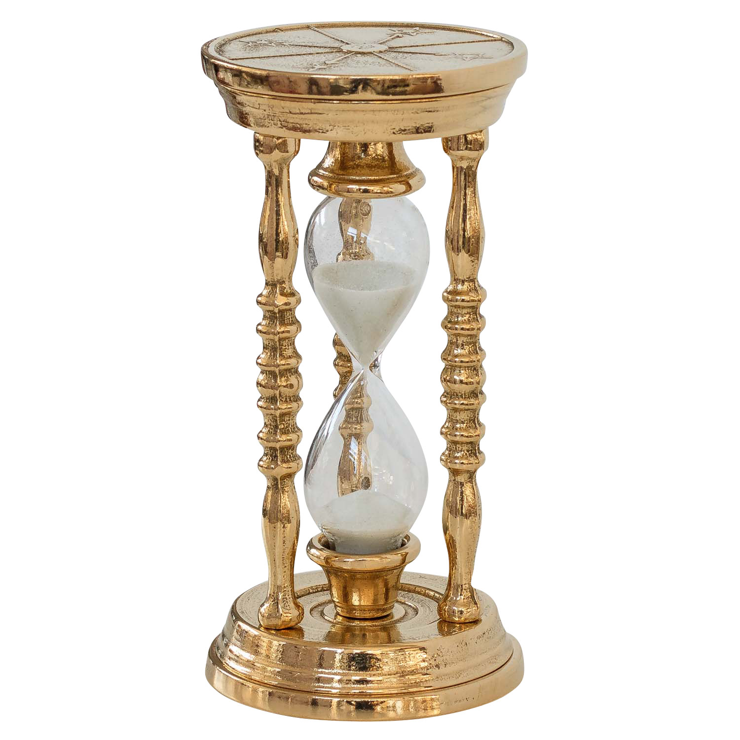 Sand glass hour egg timer 5 min  decoration brass antique style - 14cm