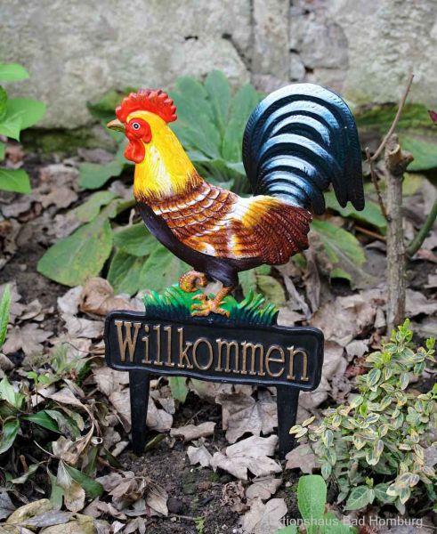 Beetstecker Huhn Hahn Willkommen Schild Garten Figur Skulptur antik Stil garden