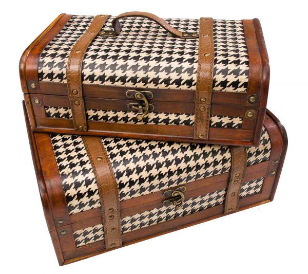 Paar Truhe Holz Koffer Kiste Box Boxen Truhen Schatztruhe Nostalgie antik Stil