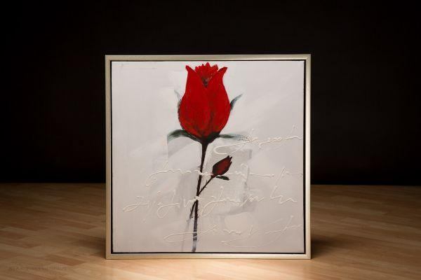 Original Ölgemälde rote Rose Gemälde Leinwand Rahmen Liebe Blumen Stilleben 64cm