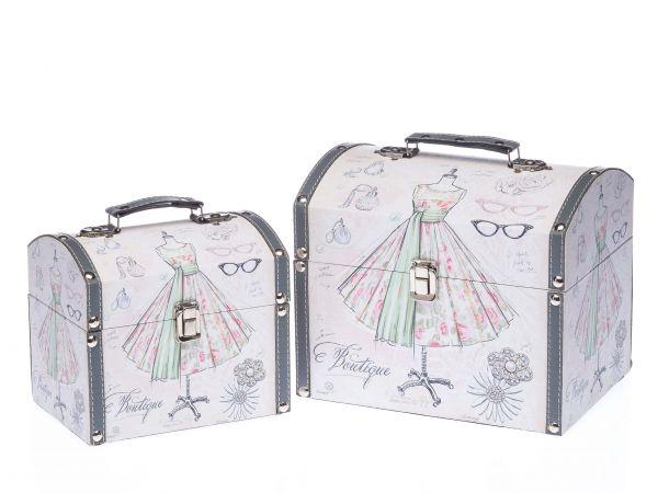 2x Beautycase Koffer Box Kiste Antikstil Holz Kosmetikbox Boutique Schatzkiste