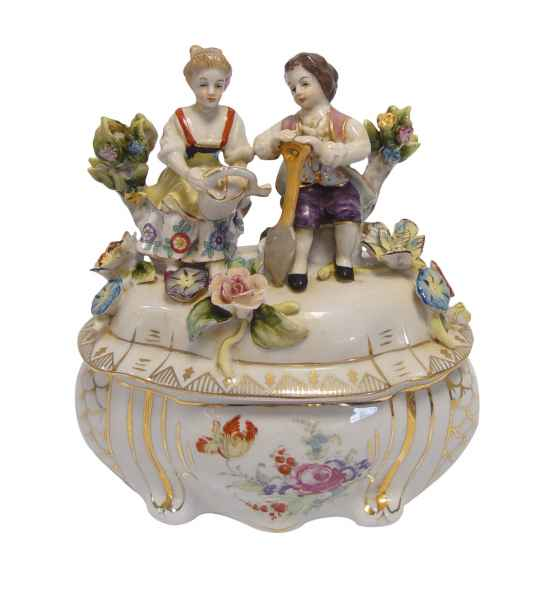 Dose Blume Frau Porzellan Skulptur Antik-Stil 16cm