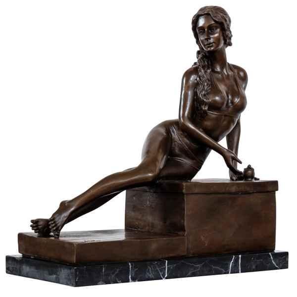 Bronzeskulptur Erotik erotische Kunst Frau Antik-Stil Bronze Figur Statue 33cm