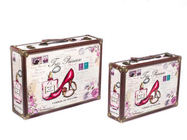 Kofferset Koffer Box Kiste Holz Schatzkiste Holzkoffer antik Stil Tress Princess