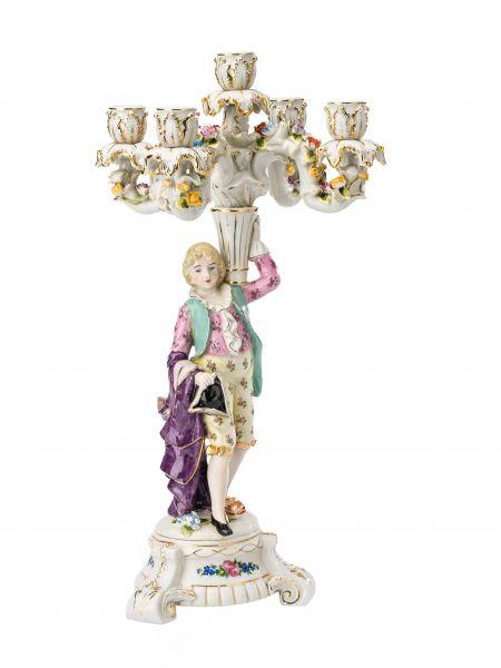 Kerzenleuchter Porzellan 47cm Kerzenständer Mann Blumen antik Stil porcelain