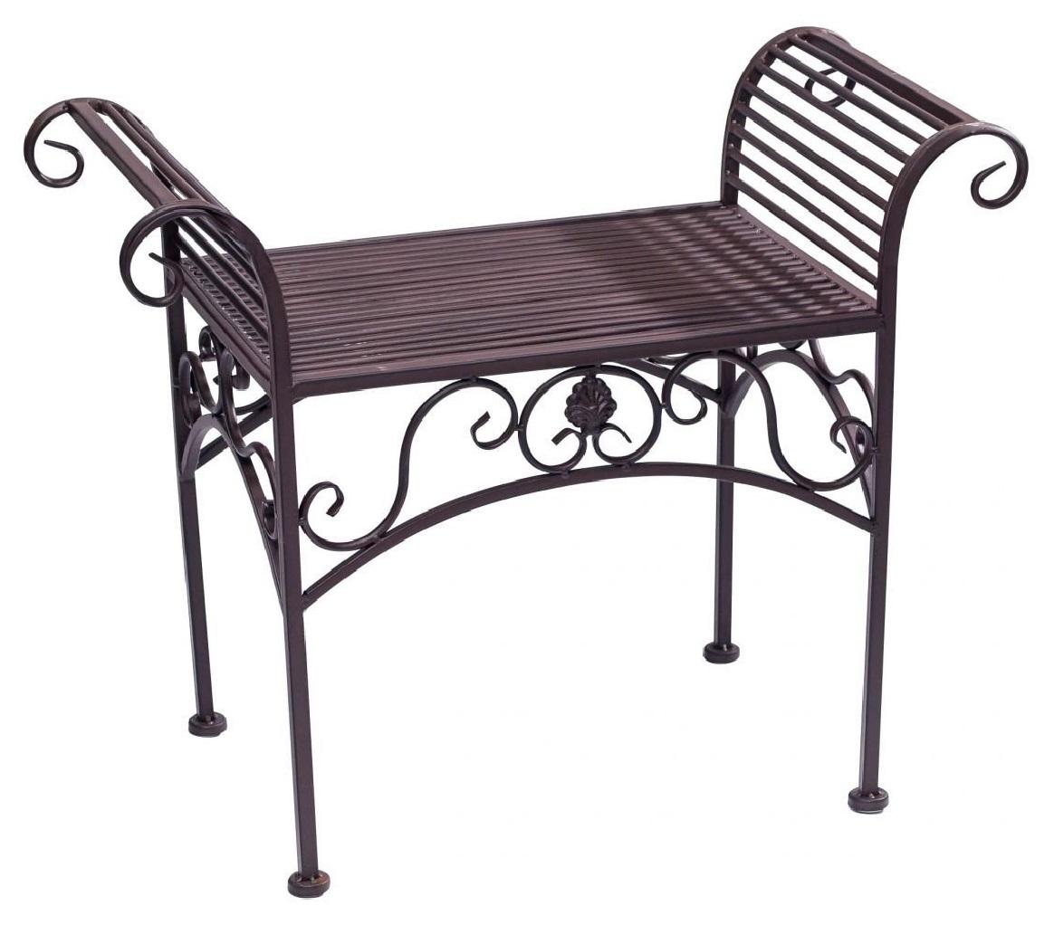 gartenbank eisen metall antik stil garten bank gartenm bel braun 70cm aubaho. Black Bedroom Furniture Sets. Home Design Ideas