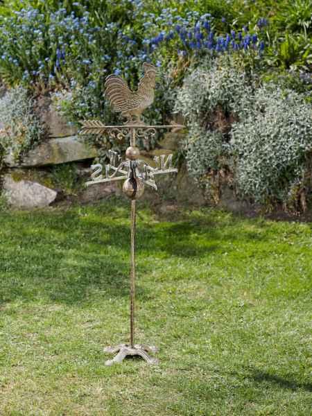 Nostalgie Wetterhahn Standfuss Hahn Garten Dekoration Eisen Wetterfahne grün
