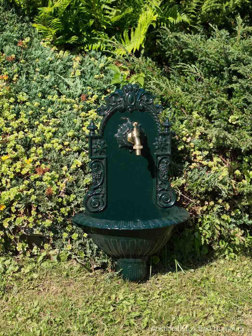 Waschbecken Wein Wandbrunnen Garten Aluminium Becken Brunnen Antik-Stil grün