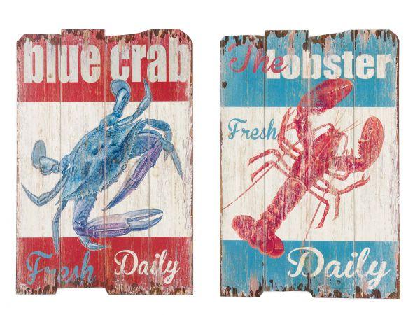 2x Bild Wandtafel Tafel Lobster Krebs crab Holzbild Wandbild Restaurant Seafood