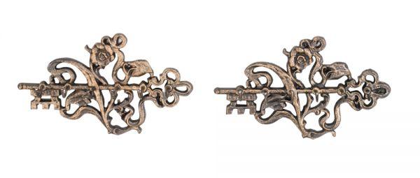 2x Schlüsselkasten Schlüsselbrett Schlüssel Rose Eisen Schlüsselboard antik Stil