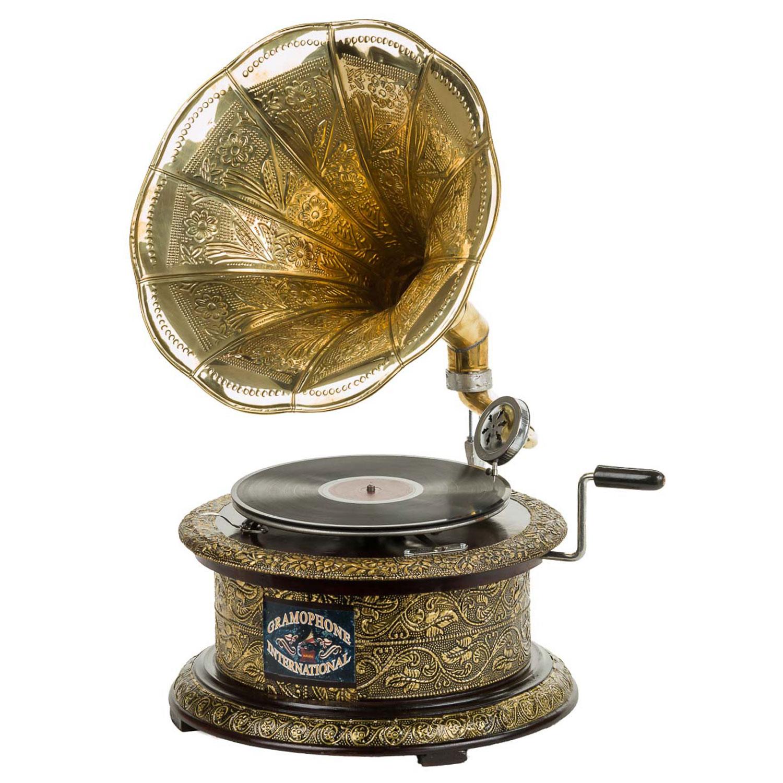 Nostalgie Grammophon Gramophone Schellack Trichter Grammofon antik-Stil rund
