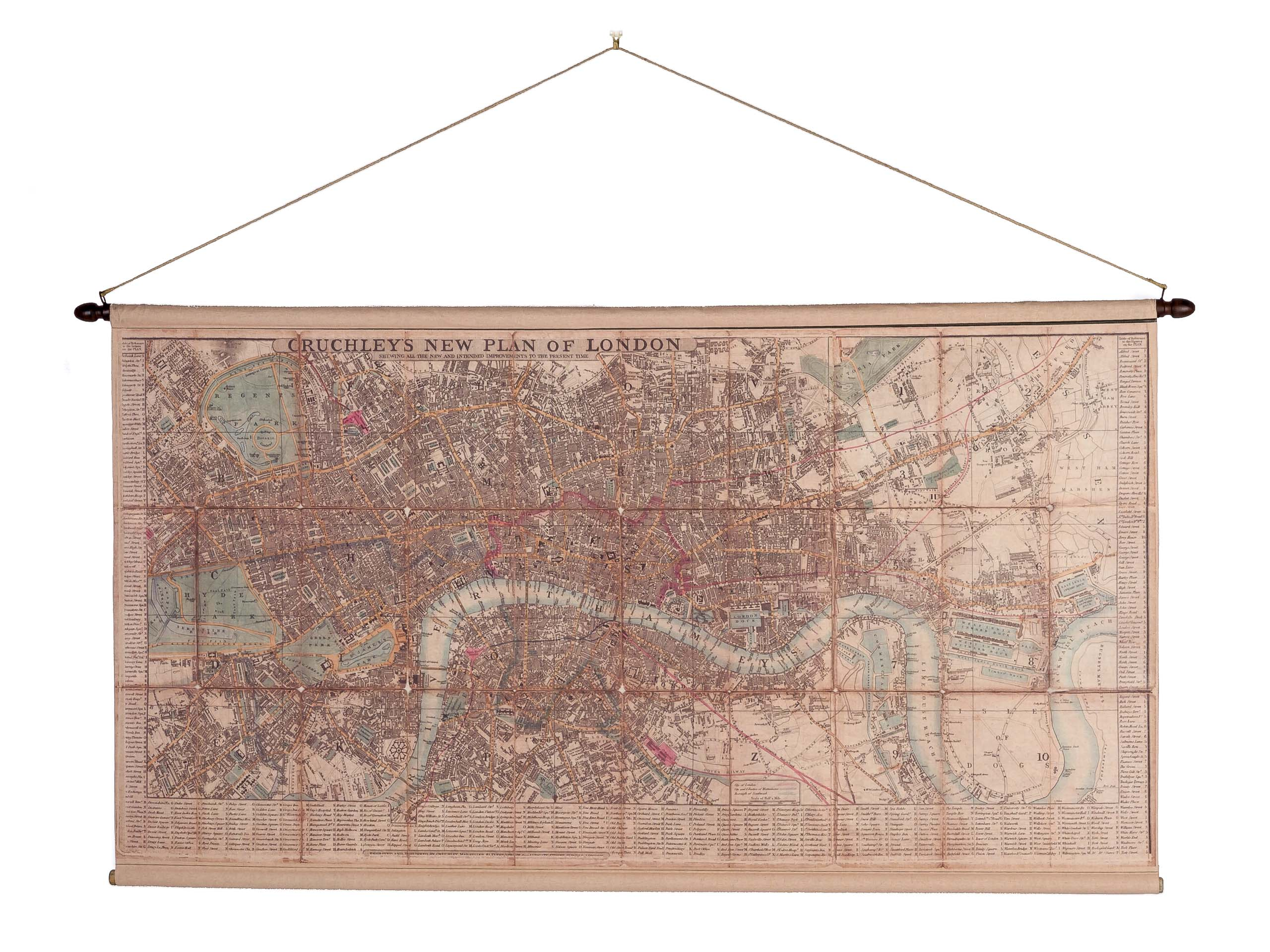 London Karte.Map London Map Historic Roll Map Antique Style Wall Map Reproduction By Cruchley
