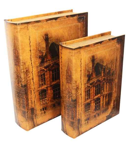 2x Schatulle Stadt Buchattrappe Box Schmucketui Buchtresor Buchsafe