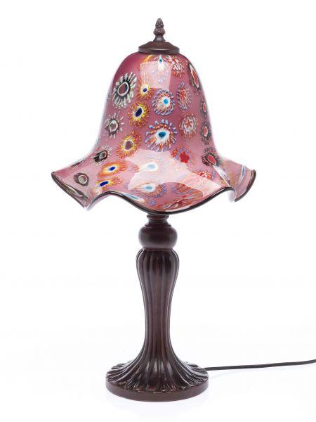 Tischlampe 56cm Lampe lila Glas Glasschirm im Murano Stil glass table lamp