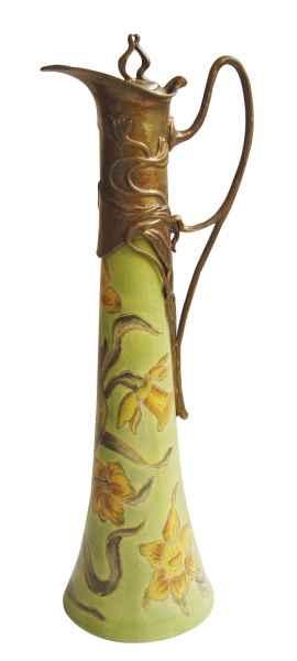 Krug Kanne Grün Wein Blume Skulptur Porzellan Antik-Stil 40cm