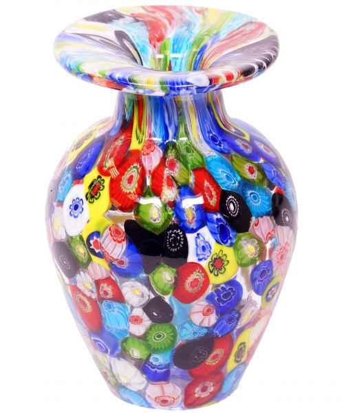 Glasvase Vase Glas Blumenvase im Murano Antik-Stil - 14cm