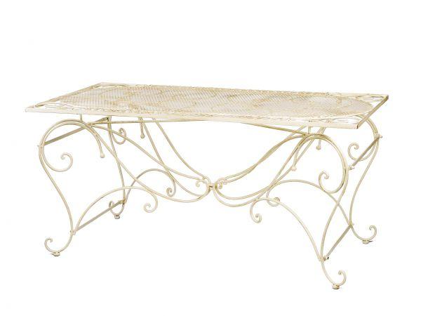 Tisch Gartentisch 160x80cm Eisen antik Stil Garten creme weiß garden table iron
