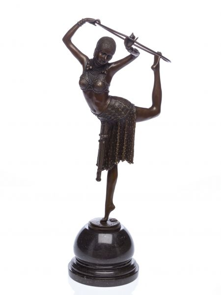 Bronzeskulptur Tänzerin mit Ring Artdeco Bronze Figur Skulptur 54cm sculpture