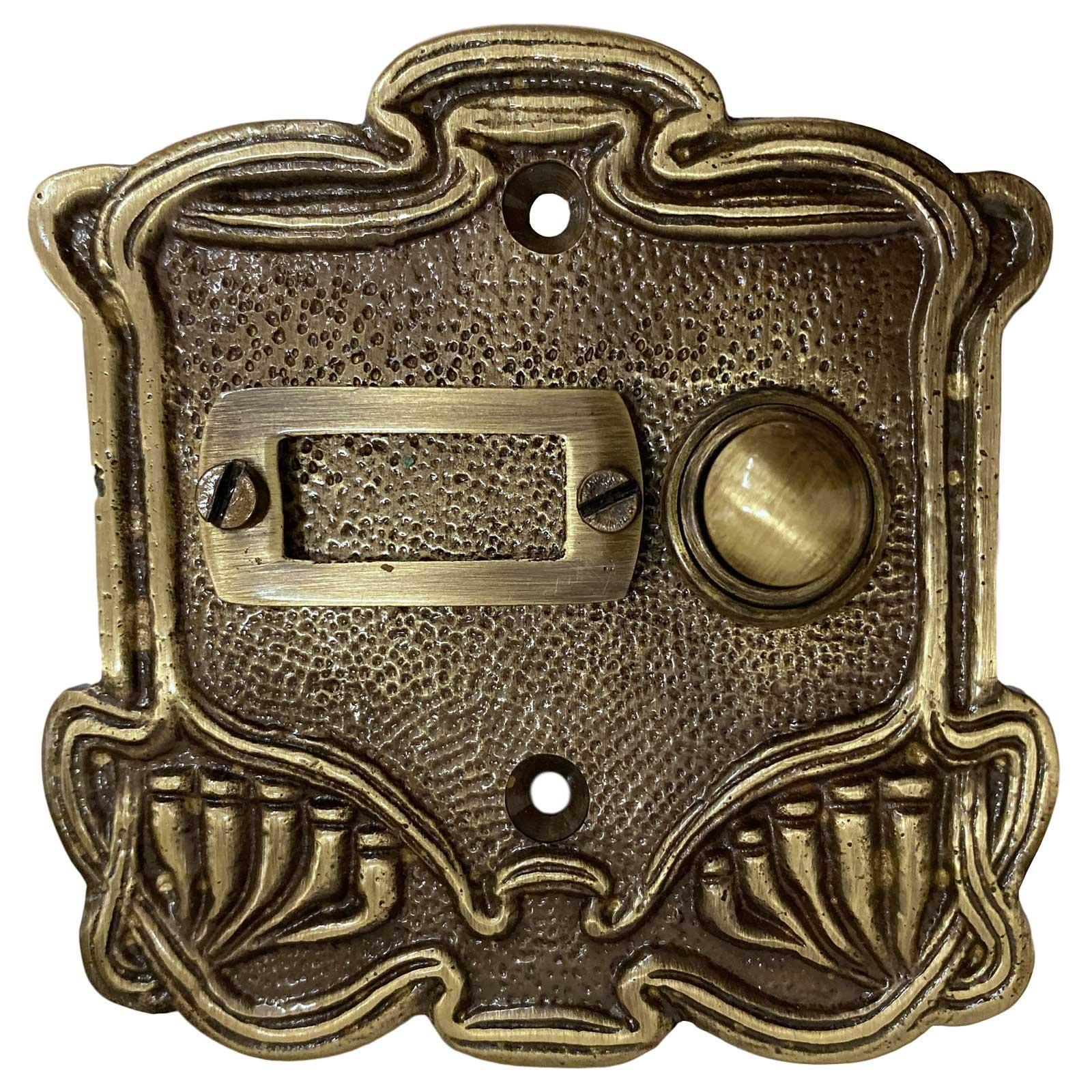 Klingel Türklingel Messing Jugendstil-Antik-Stil Klingelschild Klingelplatte
