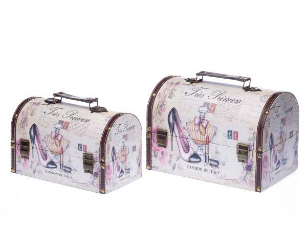 2x Beautycase Koffer Box Kiste antik Stil Holz Kosmetikbox Schatzkiste Truhen