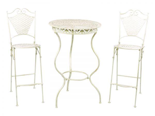Gartenmöbel Eisenmöbel Stehtisch + zwei Barhocker antik Stil Eisen creme weiss