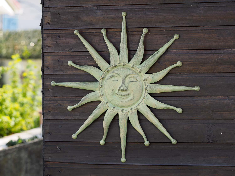 Decoración De La Pared Sol Hierro 60cm Terraza En El Jardín Verde Antiguo
