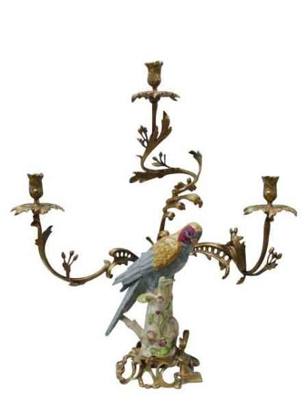 Kerzenständer Porzellan Messing Vogel Papagei Skulptur Antik-Stil - 62cm (a)