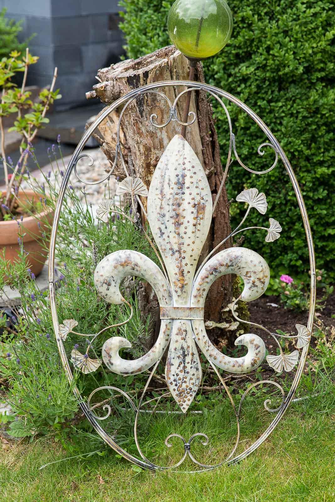 Wanddekoration lilie fenster 82cm metall deko garten for Deko terrasse garten