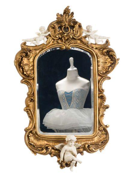 Spiegel 95cm Wandspiegel Engel Facettenschliff antik Stil Putte mirror